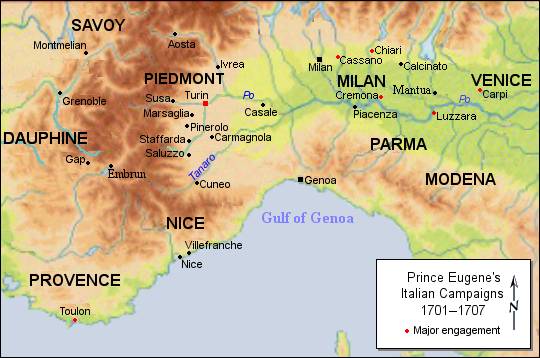 Eugene's major engagements in the Italian theatre during the War of the Spanish Succession. Prince Eugene's Italian campaign, 1701 - 1707.png