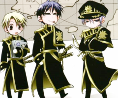 The main villains from left to right: Konatsu, Hyuuga and Ayanami, shown in chibi form