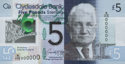 Scottish Banknotes Circulated Single Note CLYDESDALE SCOTLAND 5 POUND Banknote