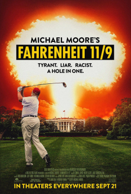 Donald Trump golfing is transposed on the White House lawn with the White House having an eruption of flame from its roof.