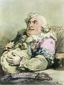 Discomforts of an Epicure; self-portrait by Thomas Rowlandson from 1787 to prove that he could aim his caricatures at himself