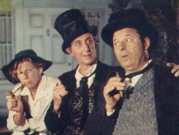 The Adventures of Huckleberry Finn was a musical production for The United States Steel Hour on November 20, 1957, with (l to r) Jimmy Boyd, Basil Rathbone, Jack Carson.