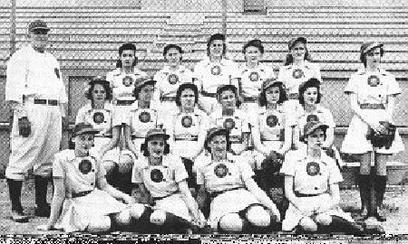 1943 South Bend Blue Sox inaugural team   Back row, L-R: Bert Niehoff (manager), Muriel Coben, Ellen Tronnier, Johanna Hageman, Geraldine Shafranis, Betty McFadden, Rose Virginia Way (chaperone). Middle row, L-R: Lois Florreich, Betsy Jochum, Josephine D'Angelo, Margaret Berger, Dorothy Schroeder, Mary Holda.  Front row: Doris Barr, Mary Baker, Lucella MacLean, Margaret Stefani.