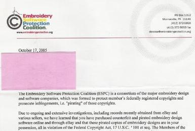 This ESPC letter accuses an eBay buyer of copy...
