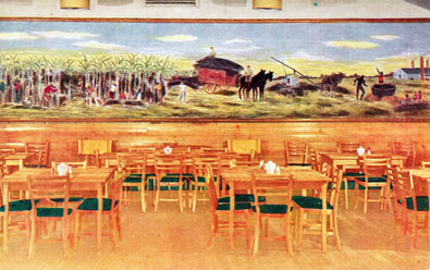 "Officers' Club at Keesler Field as it appeared during World War II. ""Partial view of the Dining Room, Officers' Club, Keesler Field, Mississippi. The mural scene, painted by Cpl. Claude Marks, shows the harvesting and processing of cane sugar in Louisiana around 1859."" Source: U. S. Government postcard. Date of postcard unknown, probably about 1944. - Keesler Air Force Base"