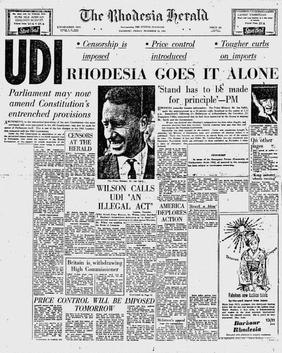 The front page of the Rhodesia Herald's 12 November 1965 edition. Note the blank spaces where content was removed by state censors. Udinewspaper.jpg