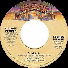 YMCA van Village People US vinyl single A-side label-.png