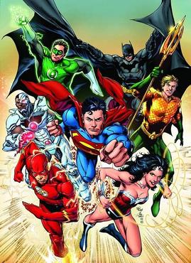 The redesigned Cyborg as a member of the original Justice League. Art by Ivan Reis.
