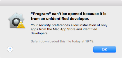 Screenshot of a system alert, informing the user that the application cannot be opened, because it was not signed by a registered developer.