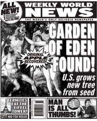 Cover of an issue of Weekly World News.