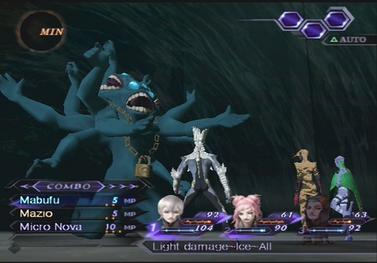 A battle in Shin Megami Tensei: Digital Devil Saga 2, during the player's turn and displaying the main protagonist's assigned abilities. SMT DDS2 battle screenshot.jpg