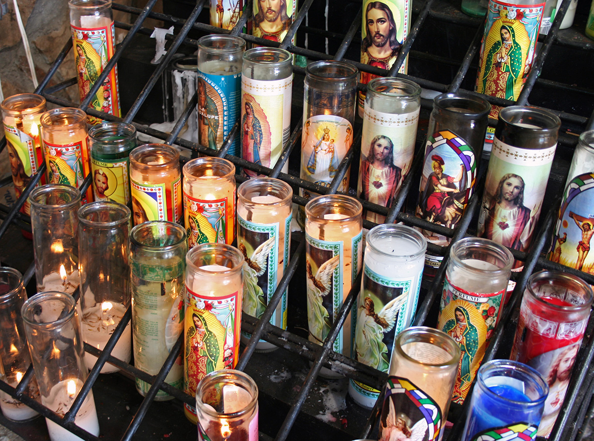 Votive candles at a small Roman Catholic Christian grotto in the American state of Texas & Votive candle - Wikipedia