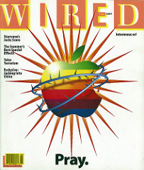 "Cover of the June 1997 issue. The main article was about Apple Computer's NeXT acquisition, Steve Jobs' return as an ""advisor"" to then-CEO Gil Amelio, and Apple's dire straits at the time. It depicts the iconic Apple logo with a stylized ""crown of thorns"". The tagline ""Pray"" is a nod to the company's Apple evangelists and ""devout"" followers. Wired cover June 1997 ""Pray"".jpg"
