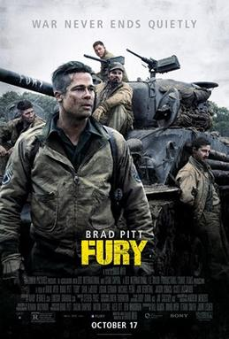 """Staring into the distance, a disheveled soldier stands in front of a tank, with """"Fury"""" written on the barrel and other soldiers leaning/sitting on it."""