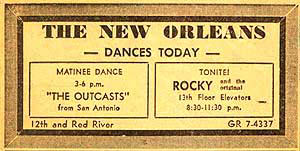 Ticket for an Outcasts show w/ 13th Floor Elevators