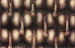 <i>Penis Landscape</i> painting by H. R. Giger