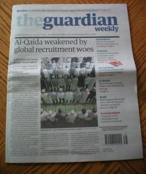 "Front page of The Guardian Weekly on the eighth anniversary of the September 11 attacks. The article claimed that al-Qaeda's activity is ""increasingly dispersed to 'affiliates' or 'franchises' in Yemen and North Africa."" The Guardian al-Qaeda recruitment.jpg"