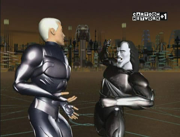 "Race and Surd fighting in QuestWorld from season two's ""Cyberswitch"""