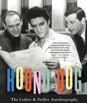 Mike Stoller (left) and Jerry Leiber (right) flanking Elvis Presley on the cover of Leiber and Stoller's joint autobiography, Hound Dog