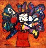 Aráuz's, Florero, oil & sand on canvas, 2001.