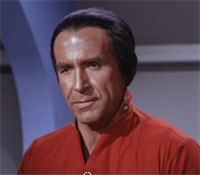 Ricardo Montalbán as Khan in a 1967 still. His hair is black and swept back from his forehead.