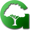 "A green capital letter ""G"" with a cutout image of a tree inside."