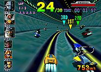 Hovercrafts navigate through a giant pipe in a course. Around the edge of the frame are two-dimensional icons relaying game information.