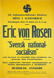 NSB poster from 1935, announcing a meeting with Eric von Rosen as main speaker.