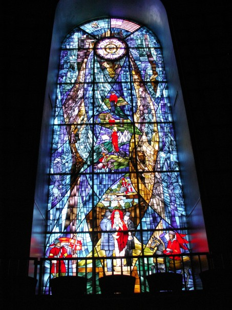 Stained glass window in Raley Chapel Raley window.jpg