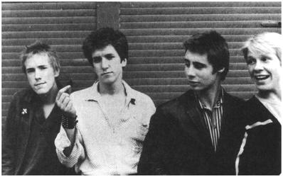The original line-up of the Sex Pistols, early 1976. Left to right: Rotten, Jones, Matlock and Cook. RotJonesMatCook.jpg