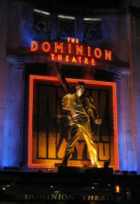 Statue of Mercury at the West End's Dominion Theatre where Queen and Ben Elton's musical We Will Rock You was performed from 2002 to 2014 WeWillRockYouDominion.jpg