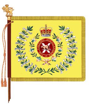 The regimental colour of the Calgary Highlanders as presented in 1968 and carried to the present. The battle honour .mw-parser-output .smallcaps{font-variant:small-caps}Afghanistan has been approved for emblazonment but a new colour has not yet been presented.