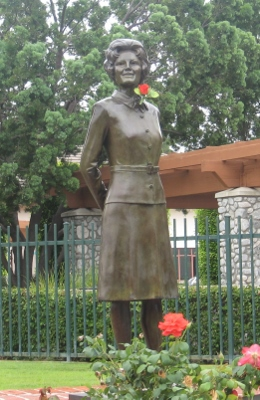 A statue of Pat Nixon stands at the site of her girlhood home in Cerritos, California, now called Pat Nixon Park. It is one of the rare statues created in the image of a first lady.
