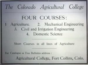 Colorado Agricultural College advertisement
