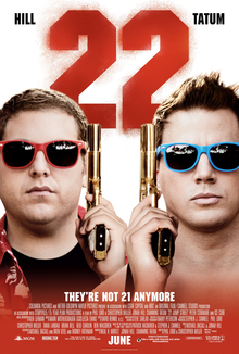 The faces of the two officers wearing colorful sunglasses, and holding guns up beside their faces. Above them is the number '22' in red.