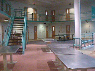 The modern cell blocks of the county jail.