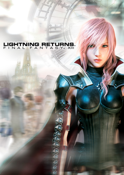 A woman in a leather suit with a large cape. On the left, the game's title appears in a font unusual for the series. In the background, a clockface is visible against a blurry, colorful background. The game's logo is visible on her chest.