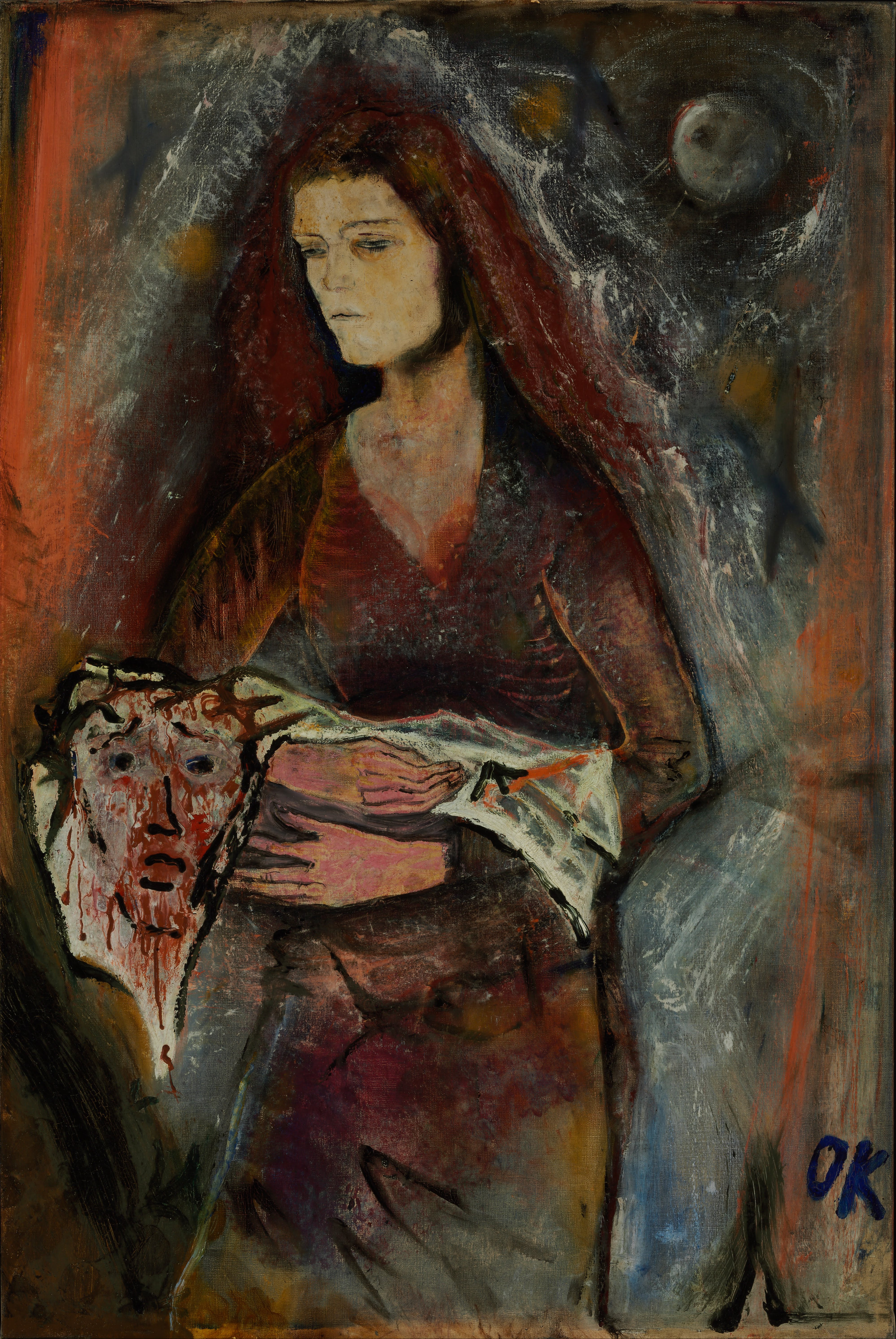 Painting By L Gebauer Woman With Red Scarf Around