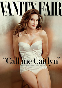 Caitlyn Jenner's vanity fair cover. She has long hair and shoulder- and leg-baring clothes.
