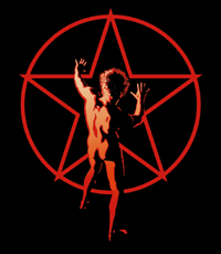 "The ""starman"" logo first appeared on the back cover of the 1976 album 2112. Hugh Syme, creator of graphics on many of Rush's albums, told Jeffrey Morgan in 1983 the Starman ""didn't begin as an identity factor for the band, it just got adopted"".[24]"