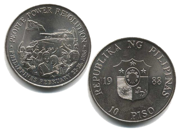 10-peso coin commemorating the People Power Revolution People Power Revolution commemorative 10-peso coin obverse and reverse.png