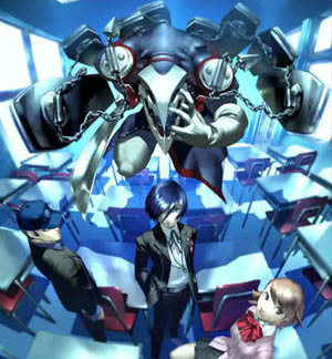 "A Japanese ad for Persona 3, created by the game's art director, Shigenori Soejima. The ad ""contains three important game elements: school, Persona, and friendship."" Persona 3 AD.jpg"