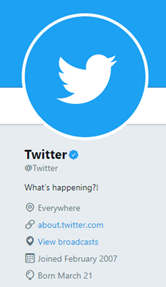 The official Twitter profile of Twitter, Inc. The blue check mark right of the profile name indicates that it is a verified account. Twitter verified account.png