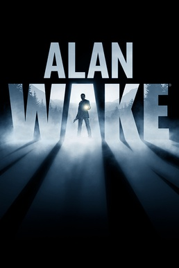 "The cover of Alan Wake shows the game's logotype with the Alan Wake character holding a gun and flashlight. The text ""A Psychological Action Thriller"" is prominently displayed."