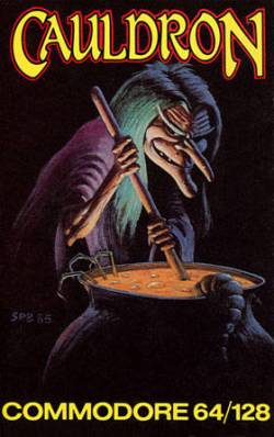 "Artwork of a vertical rectangular box. The top portion reads ""Cauldron"" and the bottom portion reads ""Commodore 64/128"". Depicted behind a black background is a witch with long green hair and a long pointed nose. The witch uses a stick to stir a liquid in a black cauldron."