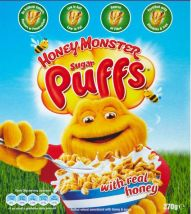 Sugar Puffs packaging featuring the Honey Monster, the advertising face of the cereal