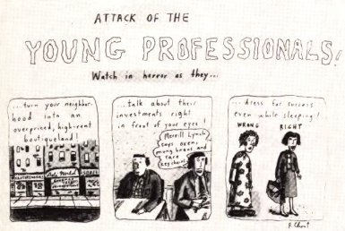 "Kahn took inspiration from the 1983 Roz Chast comic ""Attack of the Young Professionals!"" Attack of the Young Professionals.jpg"