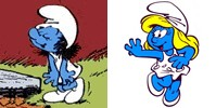 At the left, there is a blue humanoid wearing all white with black hair. At the right, there is the same blue humanoid now, with blonde hair running