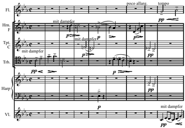 "The opening of Webern's arrangement of ""Ricercar a 6"""