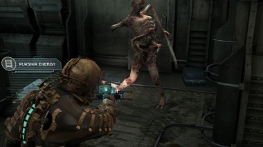 In the game Dead Space, the colored spine of the player's spacesuit is used to indicate the health points of their character. This is rendered within the environment of the game, as part of the player's character. Ammo, mission updates, and several key menus are also rendered in the game world, which are viewed by the player's character.
